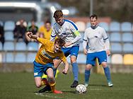 FODBOLD: Mads Nordby Rasmussen (Ølstykke FC) tackles af Mark Jeppe (Humlebæk) under kampen i Serie 2 mellem Ølstykke FC og Humlebæk Boldklub den 6. april 2019 på Ølstykke Stadion. Foto: Claus Birch.