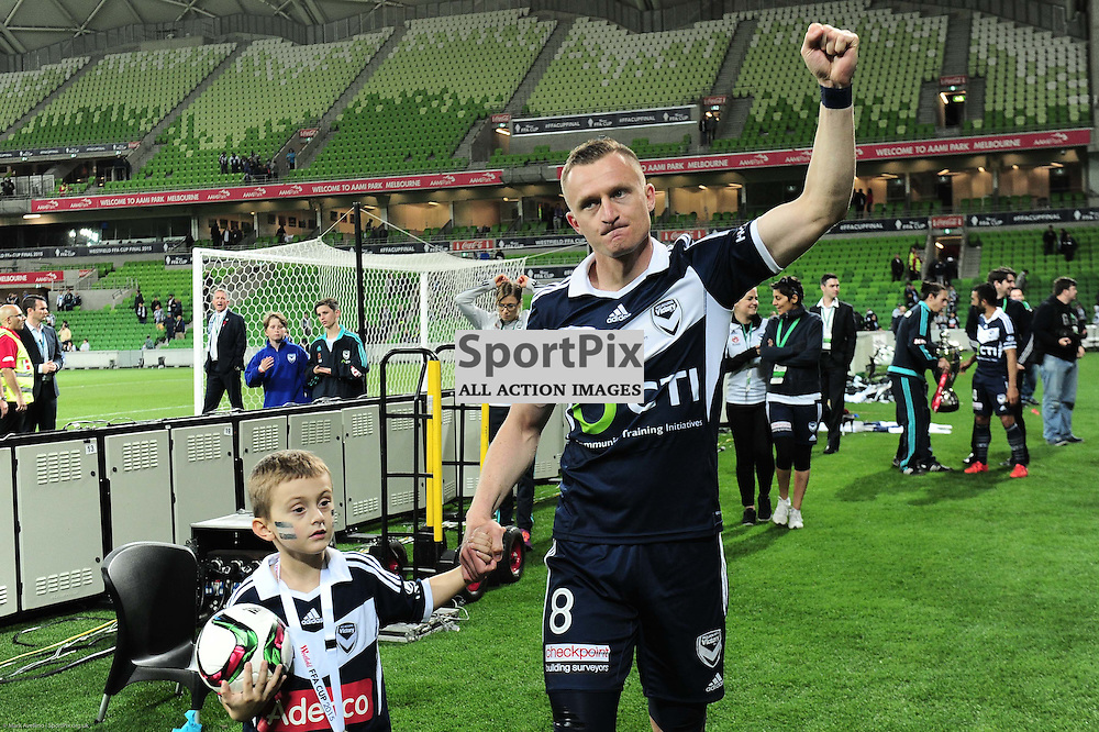 Besart Berisha of Melbourne Victory and his son after their 2:0 win over Perth in the Westfield FFA Cup Final, 7th November 2015, Melbourne Victory FC v Perth Glory FC - © Mark Avellino | SportPix.org.uk
