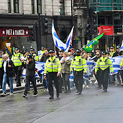 A few Pro-Israelis seen at Trafalgar square during National Demonstration for Palestine commemorating 71 years since the Nakba (catastrophe). On 15th May 1948 over 750,000 Palestinians were expelled from their land during the establishment of the state of Israel ahead of the Nakba (catastrophe). on this day 15th May 1948 march through central on 11 May 2019, London, UK.