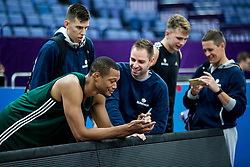 Anthony Randolph, Vlatko Cancar, Jaka Lenart of Slovenian National Basketball team attend a training session ahead of the FIBA EuroBasket 2017 match between Slovenia and Poland at Hartwall Arena in Helsinki, Finland on August 30, 2017. Photo by Vid Ponikvar / Sportida