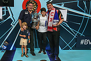 World Matchplay Champion 2018 Gary Anderson pictured with runner up Mensur Suljovic during the BetVictor World Matchplay Darts 2018 final at Winter Gardens, Blackpool, United Kingdom on 29 July 2018. Picture by Shane Healey.