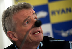 © Licensed to London News Pictures.04/11/2013. London, UK.Michael O'Leary, chief executive officer of Ryanair Holdings Plc speaks to journalists during a media briefing on Ryanair's half year results for the period..Photo credit : Peter Kollanyi/LNP