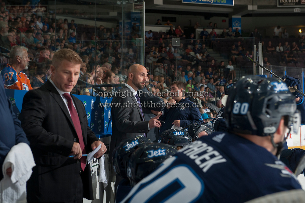 PENTICTON, CANADA - SEPTEMBER 8: The Winnipeg Jets on September 8, 2017 at the South Okanagan Event Centre in Penticton, British Columbia, Canada.  (Photo by Marissa Baecker/Shoot the Breeze)  *** Local Caption ***