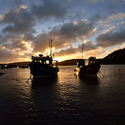 In harbour at New Quay, Wales. Tken with a 10.5mm lens.<br />