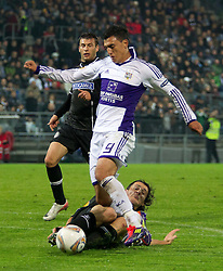 20.10.2011, UPC Arena, Graz, AUT, UEFA Europa League, Sturm Graz (AUT) vs RSC Anderlecht (BEL), im Bild Thomas Burgstaller (SK Sturm Graz, #13, Defense) und Matias Suarez (RSC Anderlecht, Offense, #9) // during UEFA Europa League football game between Sturm Graz (AUT) and RSC Anderlecht (BEL) at UPC Arena in Graz, Austria on 20/10/2011. EXPA Pictures © 2011, PhotoCredit: EXPA/ E. Scheriau