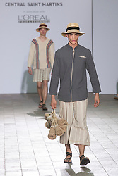 © Licensed to London News Pictures. 28/05/2013. London, England. Menswear collection by Kelvin Kwok. Central St Martins BA Fashion show with collections by graduate fashion students. Photo credit: Bettina Strenske/LNP