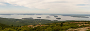 Panoramic view of Bar Harbor and Frenchman Bay from atop Cadillac Mountain, Acadia National Park, Maine, USA.