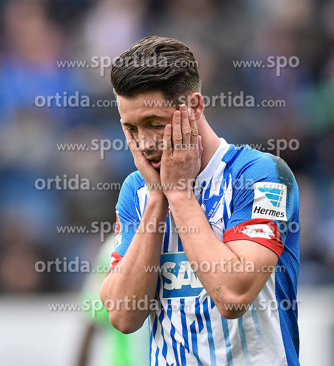 12.03.2016, Wirsol Rhein Neckar Arena, Sinsheim, GER, 1. FBL, TSG 1899 Hoffenheim vs VfL Wolfsburg, 26. Runde, im Bild Mark Uth TSG 1899 Hoffenheim // during the German Bundesliga 26th round match between TSG 1899 Hoffenheim and VfL Wolfsburg at the Wirsol Rhein Neckar Arena in Sinsheim, Germany on 2016/03/12. EXPA Pictures &copy; 2016, PhotoCredit: EXPA/ Eibner-Pressefoto/ Weber<br /> <br /> *****ATTENTION - OUT of GER*****