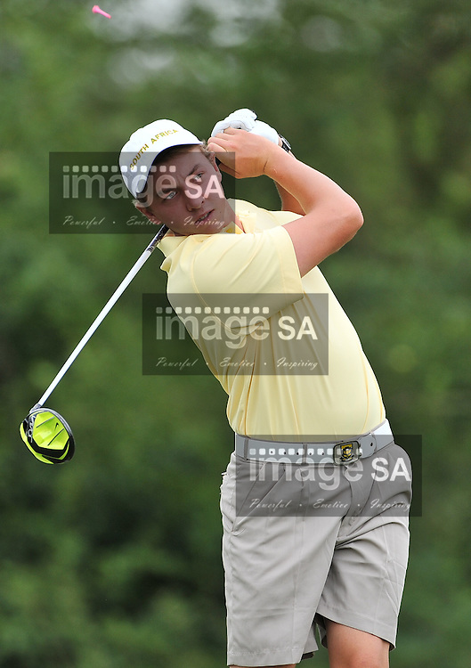 MALELANE, SOUTH AFRICA - Wednesday 18 February 2015, Paul Boshoff of South Africa tees off on the 4th during the first round foursomes of the annual Leopard Trophy, a two day test between teams of the South African Golf Association and the Scottish Golf Union, at the Leopard Creek Golf Estate.<br /> Photo Roger Sedres/ Image SA