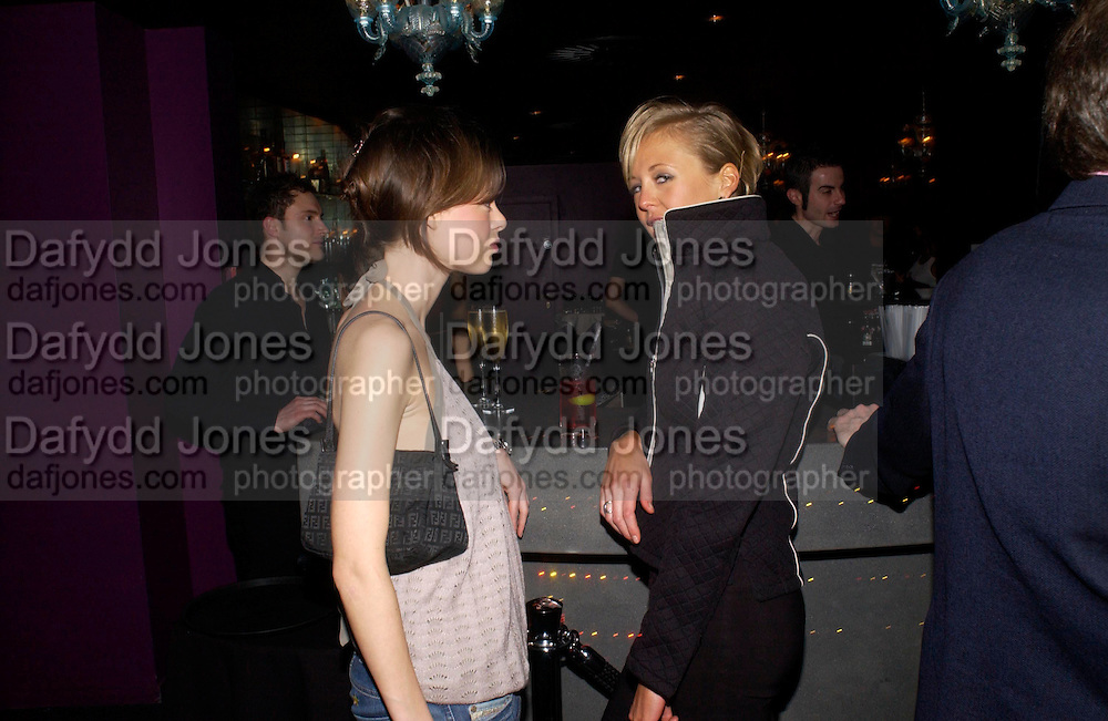 Melissa Milne and Lady Alexandra Spencer-Churchill. party given by Daphne Guinness for Christian Louboutin  after the opening of his new shopt.  Baglione Hotel. 16 March 2004.  ONE TIME USE ONLY - DO NOT ARCHIVE  © Copyright Photograph by Dafydd Jones 66 Stockwell Park Rd. London SW9 0DA Tel 020 7733 0108 www.dafjones.com