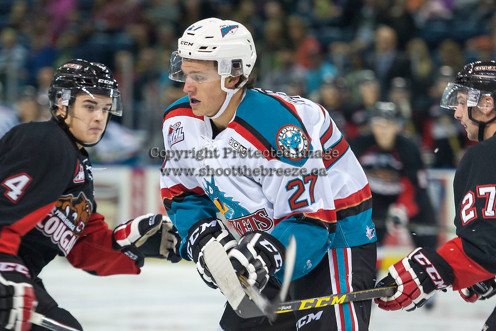 KELOWNA, CANADA - SEPTEMBER 5: Calvin Thurkauf #27 of Kelowna Rocketsskates against the Prince George Cougars on September 5, 2015 during the first pre-season game at Prospera Place in Kelowna, British Columbia, Canada.  (Photo by Marissa Baecker/Shoot the Breeze)  *** Local Caption *** Calvin Thurkauf;