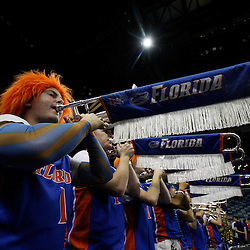 Mar 24, 2011; New Orleans, LA; The Florida Gators band perfroms before tip off of the semifinals of the southeast regional of the 2011 NCAA men's basketball tournament Brigham Young Cougars at New Orleans Arena.  Mandatory Credit: Derick E. Hingle