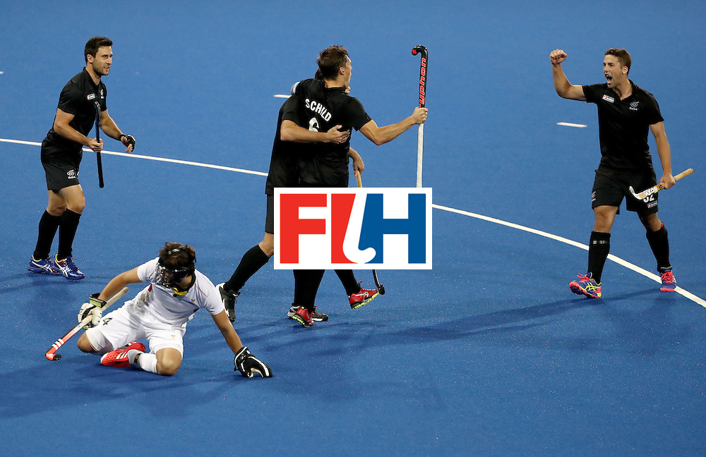 RIO DE JANEIRO, BRAZIL - AUGUST 12:  Kane Russell #21, Nic Woods #17, Nick Wilson #32,  Simon Child #6 of New Zealand reacand t to a goal as Arthur van Doren #4 of Belgium looks on during a Men's Preliminary Pool B match on Day 7 of the Rio 2016 Olympic Games at the Olympic Hockey Centre on August 12, 2016 in Rio de Janeiro, Brazil.  (Photo by Sean M. Haffey/Getty Images)
