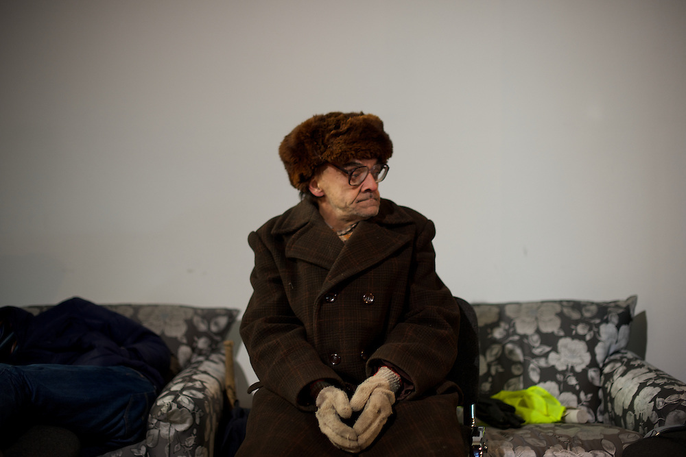 January 26, 2014 - Kiev, Ukraine: A anti-government protestor takes a rest at the occupied Ukraine House, hours after violent confrontations with the riot police. (Paulo Nunes dos Santos)