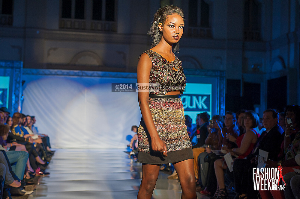 FASHION WEEK NEW ORLEANS: Designer Ashley Gunkel show case her fashion design on the runway at the Board of Trade, Fashion Week New Orleans on Wednesday March 19. 2014. #FWNOLA, #FashionWeekNOLA, #Design #FashionWeekNewOrleans, #NOLA, #Fashion #BoardofTrade, #GustavoEscanelle, #TraceeDundas<br /> View more photos at http://Gustavo.photoshelter.com.