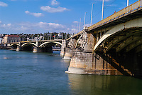 Budapest, Hungary.  Margaret Bridge, connecting Buda and Pest across the Danube.