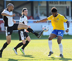 Bristol Rovers' Ellis Harrison is challenged by Dover Athletic's Richard Orlu - Photo mandatory by-line: Neil Brookman/JMP - Mobile: 07966 386802 - 18/04/2015 - SPORT - Football - Dover - Crabble Athletic Ground - Dover Athletic v Bristol Rovers - Vanarama Football Conference
