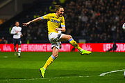 Luke Ayling of Leeds United (2) shoots during the EFL Sky Bet Championship match between Preston North End and Leeds United at Deepdale, Preston, England on 9 April 2019.