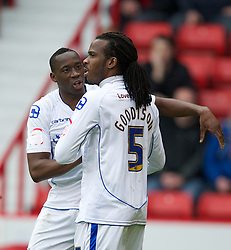 SHEFFIELD, ENGLAND - Saturday, March 17, 2012: Tranmere Rovers' Lucas Akins celebrates scoring the equalising goal against Sheffield United with team-mate Ian Goodison during the Football League One match at Bramall Lane. (Pic by David Rawcliffe/Propaganda)