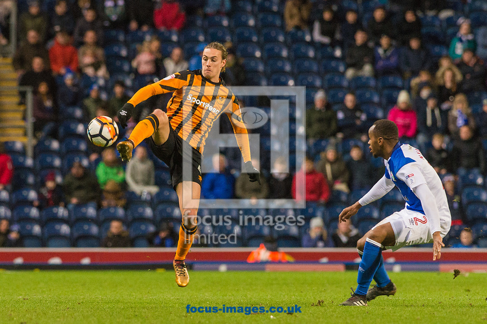 Jackson Irvine of Hull City brings the ball under control ahead of Ryan Nyambe of Blackburn Rovers during the FA Cup match at Ewood Park, Blackburn<br /> Picture by Matt Wilkinson/Focus Images Ltd 07814 960751<br /> 06/01/2018