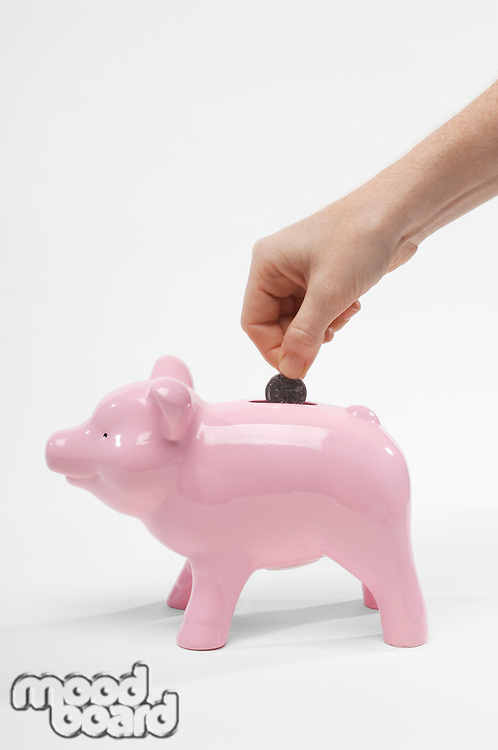 Hand Putting Money in Piggy Bank