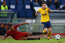 September 12, 2017 - Rome, Italy - Juan Jesus of Roma tackling on Saul Niguez of Atletico  during the UEFA Champions League Group C football match between AS Roma and Atletico Madrid on September 12, 2017 at the Olympic stadium in Rome. (Credit Image: © Matteo Ciambelli/NurPhoto via ZUMA Press)