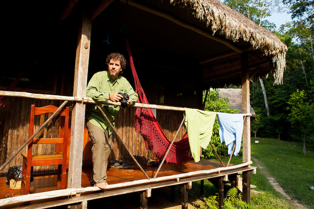 Corey Hendricskon dries his ExOfficio shirts at his cabin at Chalalan Lodge in Madidi NP in Bolivia.