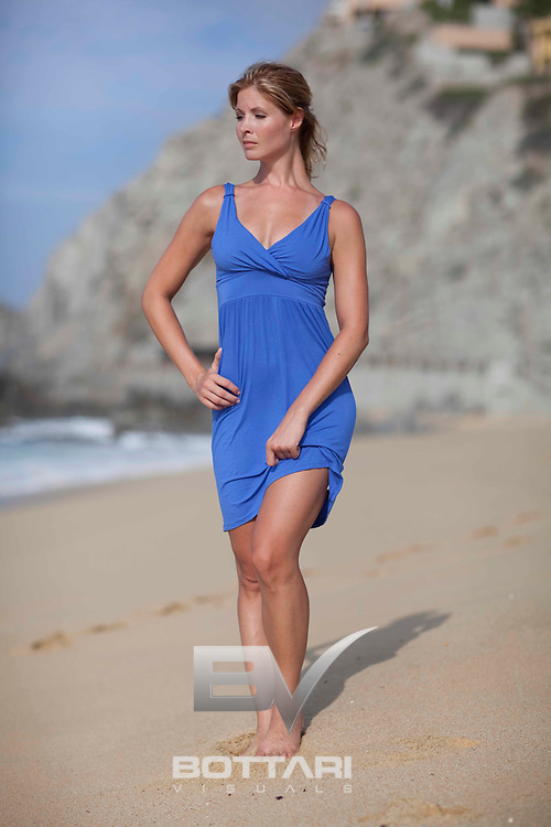 Chrissy Watson poses on the Cabo San Lucas beach area on the Pacific side of the peninsula in Baja California at La Playa Resort and Spa on August 20, 2010.