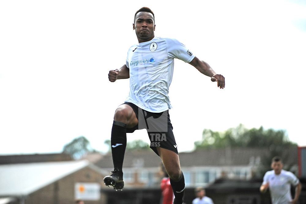 TELFORD COPYRIGHT MIKE SHERIDAN GOAL. Marcus Dinanga scores to make it 1-1 during the National League North fixture between Brackley Town and AFC Telford United at St James's Park on Saturday, September 7, 2019<br />