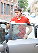 07.JULY.2011. LIVERPOOL<br /> <br /> LIVERPOOL FOOTBALL CLUB PLAYER LUIS SUAREZ LEAVES THE HOPE STREET HOTEL IN LIVERPOOL TO GO TO TRAINING AT ANFIELD, LIVERPOOL<br /> <br /> BYLINE: EDBIMAGEARCHIVE.COM<br /> <br /> *THIS IMAGE IS STRICTLY FOR UK NEWSPAPERS AND MAGAZINES ONLY*<br /> *FOR WORLD WIDE SALES AND WEB USE PLEASE CONTACT EDBIMAGEARCHIVE - 0208 954 5968*