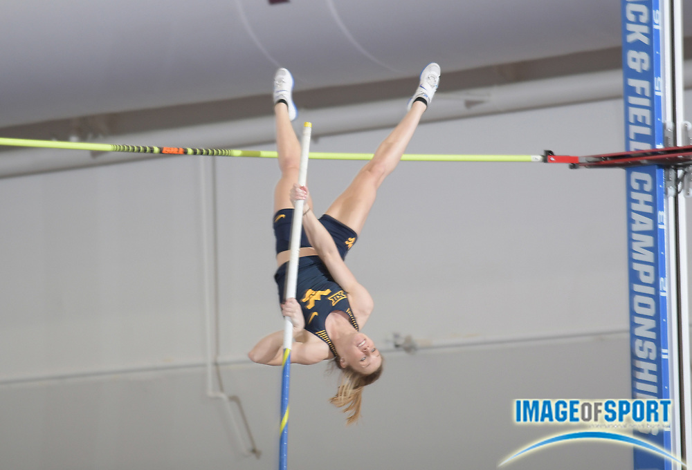 Mar 10, 2018; College Station, TX, USA; Maddie Gardner of West Virginia places ninth in the women's pole vault at 14-1 3/4 (4.31m) during the NCAA Indoor Track and Field Championships at the McFerrin Athletic Center.