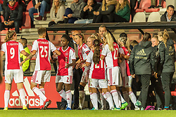 Ajax women celebrate the goal of Kelly Zeeman of Ajax women during the UEFA Women's Champions League match between Ajax Amsterdam and Sparta Praag at Sportpark De Toekomst on September 12, 2018 in Amsterdam, The Netherlands