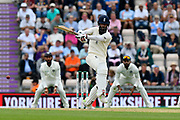 Moeen Ali of England plays an attacking shot during the first day of the 4th SpecSavers International Test Match 2018 match between England and India at the Ageas Bowl, Southampton, United Kingdom on 30 August 2018.