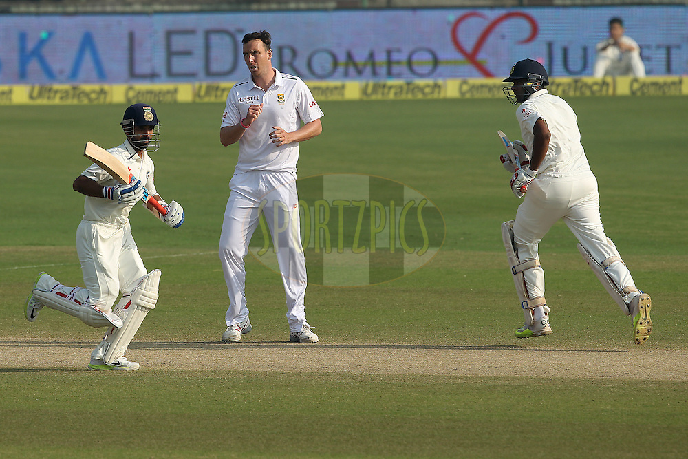 Kyle Abbott of South Africa  during day two of the 4th Paytm Freedom Trophy Series Test Match between India and South Africa held at the Feroz Shah Kotla Stadium in Delhi, India on the 4th December 2015<br /> <br /> Photo by Ron Gaunt  / BCCI / SPORTZPICS