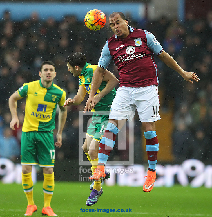Wes Hoolahan of Norwich and Gabriel Agbonlahor of Aston Villa in action during the Barclays Premier League match at Villa Park, Birmingham<br /> Picture by Paul Chesterton/Focus Images Ltd +44 7904 640267<br /> 06/02/2016