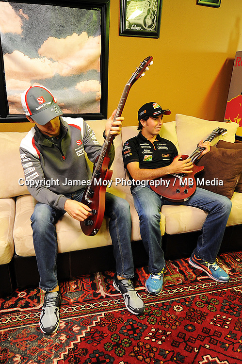 (L to R): Esteban Gutierrez (MEX) Sauber with Sergio Perez (MEX) Sahara Force India F1 at the Fans' Forum.<br /> United States Grand Prix, Wednesday 29th October 2014. Circuit of the Americas, Austin, Texas, USA.