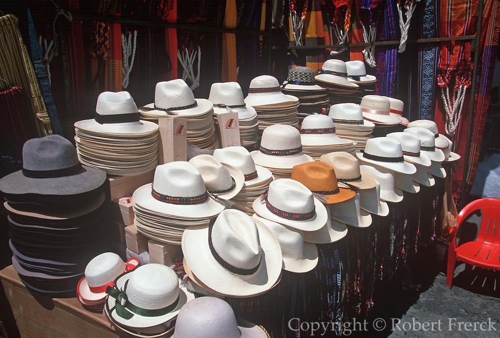 ECUADOR, MARKETS, CRAFTS Otavalo, traditional panama hats