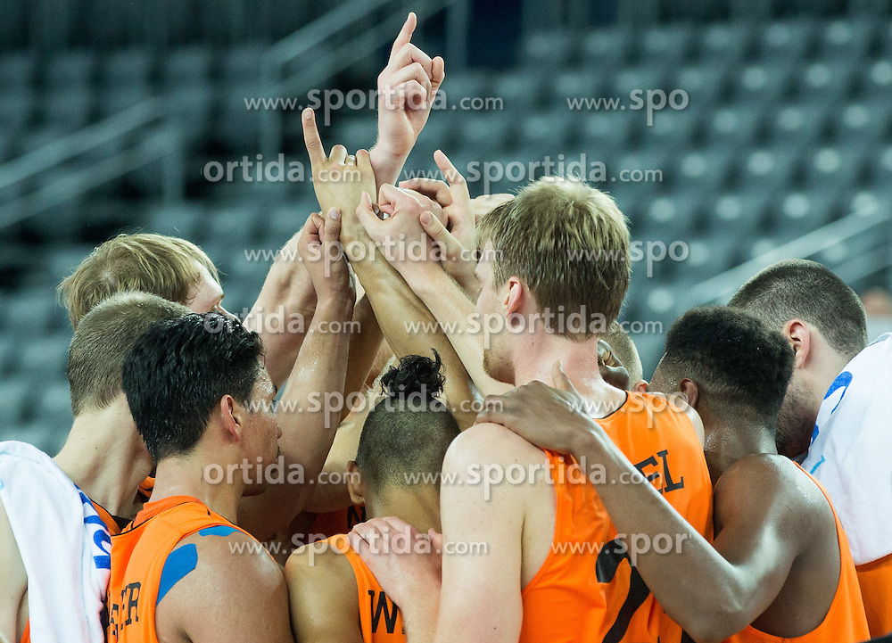 Players of Netherlands celebrate after winning during basketball match between Georgia and Netherlands at Day 1 in Group C of FIBA Europe Eurobasket 2015, on September 5, 2015, in Arena Zagreb, Croatia. Photo by Vid Ponikvar / Sportida