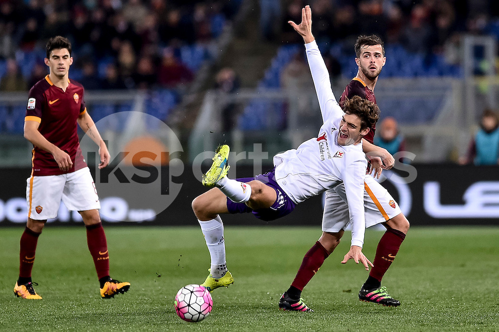 CHELSEA SHOWS INTEREST ON MARCOS ALONSO OF FIORENTINA.<br /> <br /> Marcos Alonso of Fiorentina is challenged by Miralem Pjanic during the Serie A TIM match between AS Roma and Fiorentina at Stadio Olimpico, Rome, Italy on 4 March 2016. Photo by Giuseppe Maffia.