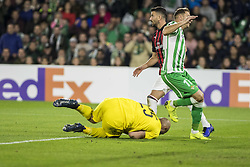 November 8, 2018 - Seville, Spain - PEPE REINA of Milan (L) makes a savein front of JOAQUIN of Betis (R ) during the Europa League Group F soccer match between Real Betis and AC Milan at the Benito Villamarin Stadium (Credit Image: © Daniel Gonzalez Acuna/ZUMA Wire)