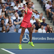 Roberta Vinci, Italy, in action against Flavia Pennetta, Italy, in the Women's Singles Final match during the US Open Tennis Tournament, Flushing, New York, USA. 12th September 2015. Photo Tim Clayton
