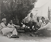 Group of prominent archaeologists in the Peabody Museum Expedition Camp at Awatovi, Arizona, 1939, (left-right) Ted Sayles, Charles Amsden, Al Kidder, Emil Haury, Jesse Nusbaum, and J O Brew, courtesy of the School of American Research, in the Anasazi Heritage Center, an archaeological museum of Native American pueblo and hunter-gatherer cultures, Dolores, Colorado, USA. Picture by Manuel Cohen