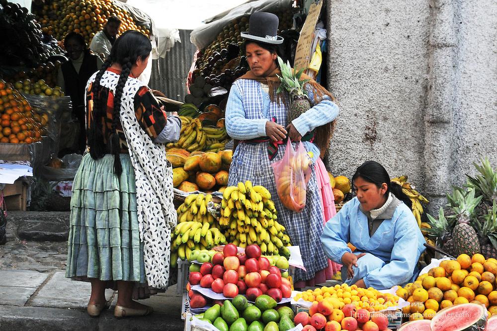 Market scene in La Paz, Bolivia