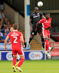 Chris Samba of Aston Villa wins a header from Amadou Bakayoko of Walsall - Mandatory by-line: Paul Roberts/JMP - 18/07/2017 - FOOTBALL - Bescot Stadium - Walsall, England - Walsall v Aston Villa -  Pre-season friendly