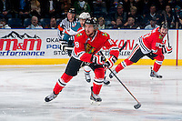 KELOWNA, CANADA - APRIL 19: Garrett Haar #18 of the Portland Winterhawks skates against the Kelowna Rockets on April 18, 2014 during Game 2 of the third round of WHL Playoffs at Prospera Place in Kelowna, British Columbia, Canada.   (Photo by Marissa Baecker/Shoot the Breeze)  *** Local Caption *** Garrett Haar;