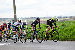 Annemiek van Vleuten (NED), Kasia Niewiadoma (POL) and Marta Bastianelli (ITA) in the escape at Dwars door Vlaanderen - Elite Women 2019, a 108 km road race from Tielt to Waregem, Belgium on April 3, 2019. Photo by Sean Robinson/velofocus.com