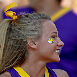 September 10, 2011; Baton Rouge, LA, USA;  A LSU Tigers cheerleader prior to kickoff of a game between the LSU Tigers and the Northwestern State Demons at Tiger Stadium.  Mandatory Credit: Derick E. Hingle