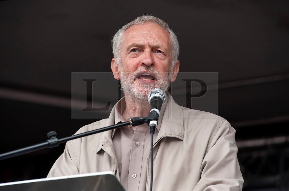 **File picture. Unite union have selected Jeremy Corbyn as their preferrence to be the next Labour Party leader**© Licensed to London News Pictures. 20/06/2015. London, UK.  JEREMY CORBYN MP speaks as The March against Austerity reaches Parliament Square, organised by the People's Assembly, against Government cuts to public spending and public services.  Photo credit : Simon Chapman/LNP