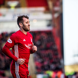 Aberdeen v Kilmarnock, Scottish Premiership, 27th January 2018<br /> <br /> Aberdeen v Kilmarnock, Scottish Premiership, 27th January 2018 &copy; Scott Cameron Baxter | SportPix.org.uk<br /> <br /> Niall McGinn of Aberdeen heads to the corner flag in the match against Kilmarnock.