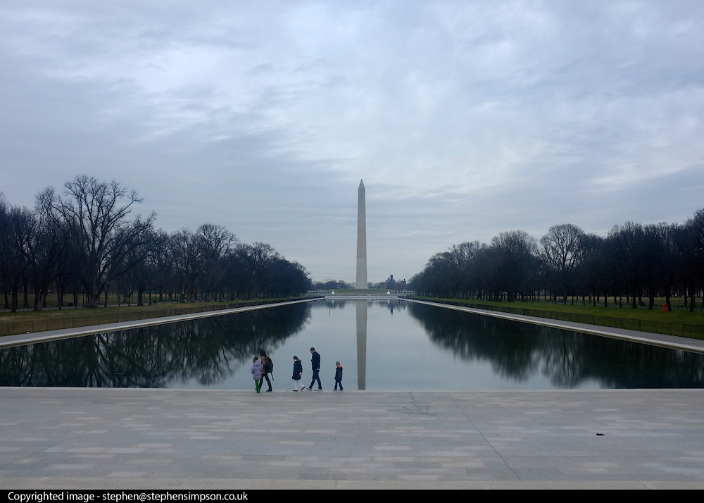 © Licensed to London News Pictures. 01/01/2013. Washington DC, USA .  The Washington Monument seen from the Lincoln Memorial. Photo credit : Stephen Simpson/LNP
